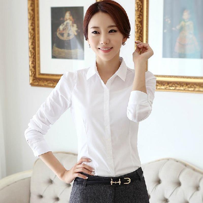 2017春秋韩版衬衫女白衬衫学生职业女装大码长袖防走光打底女衬衣