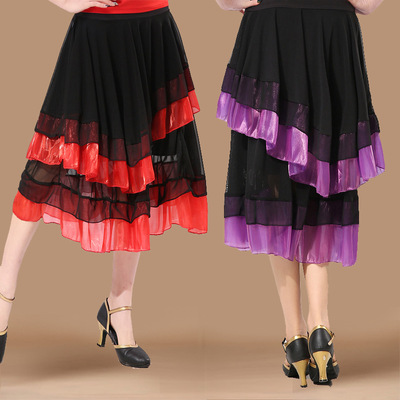 Ballroom dance skirts for women Latin dance half length skirt modern social dance skirt dance performance skirts