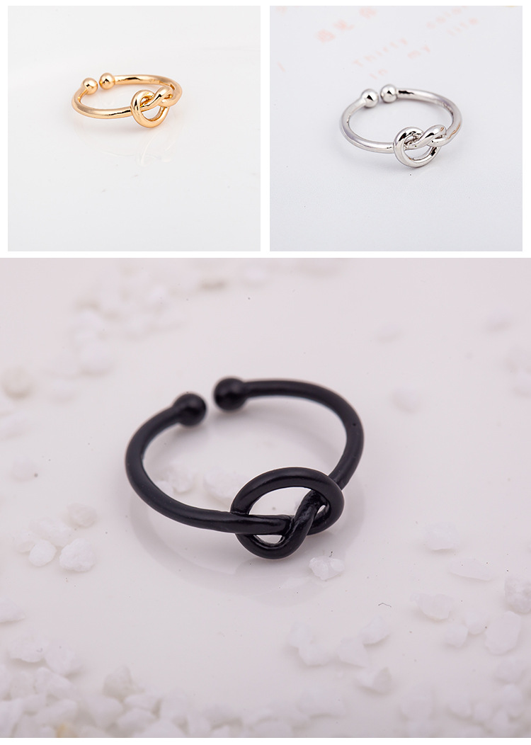 Knotted Love Ring Ring Open Heart Braided Staggered Ring NHCU194950