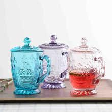 绿典 欧式浮雕带盖玻璃杯 彩色家用水杯大容量杯子创意带把办公杯