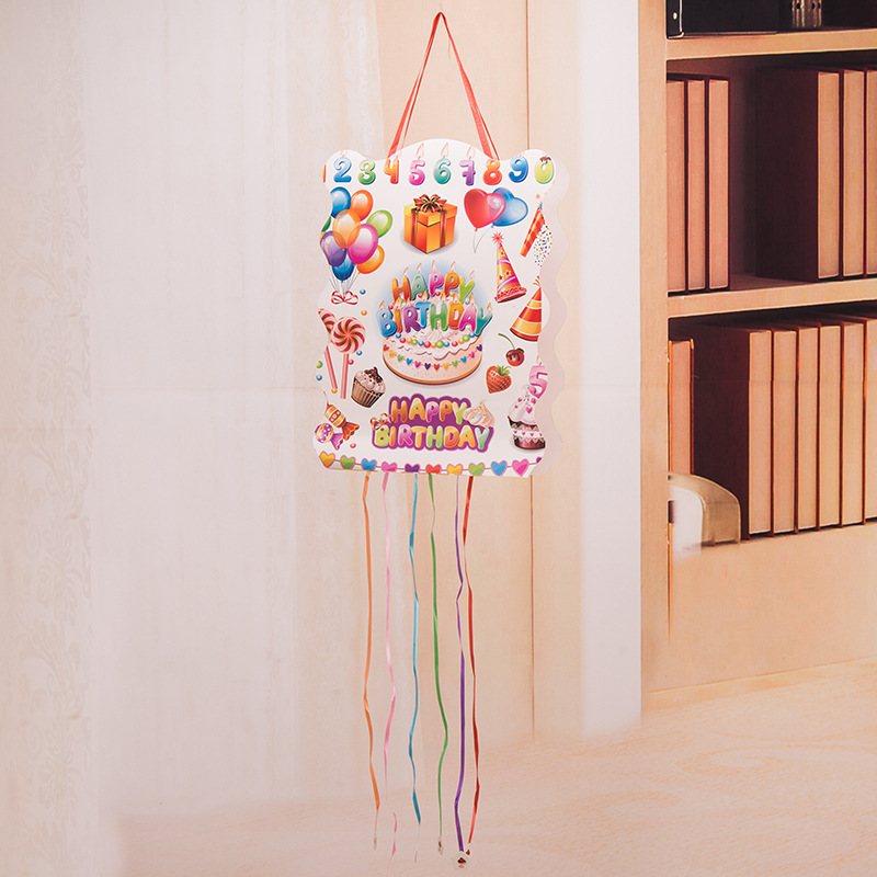 Factory Direct Wholesale Birthday Party Children's Party Supplies Creative Background Layout Cartoon Paper Pinata