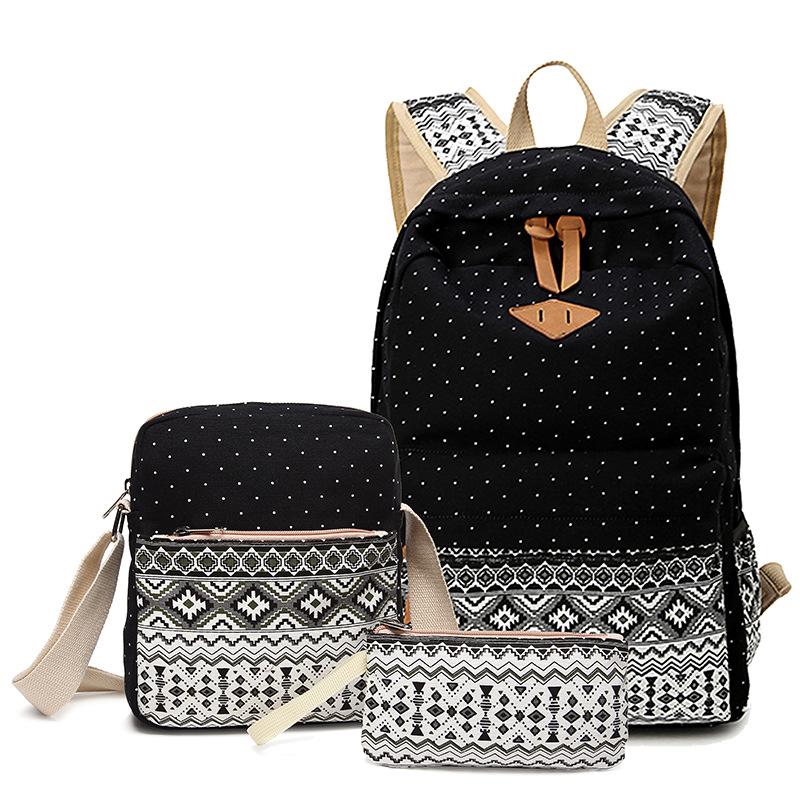 日系女生学生书包三件套休闲帆布双肩背包子母包高中午餐包包定制
