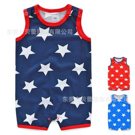 Berrytime baby jumpsuit full moon summer star flat angle vest infant crawling suit HA2534