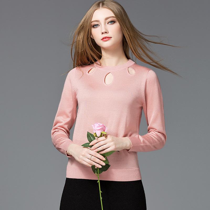 玛拉咔啰2020秋季新款女装镂空性感时尚修身圆领 针织衫打底套头