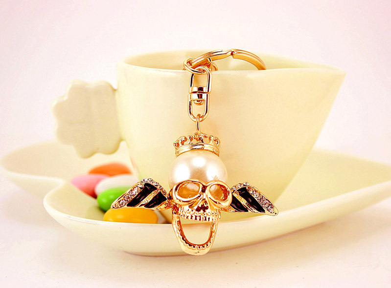 Creative Car Hanging  Pearl Skull Key Chain NHAK267050