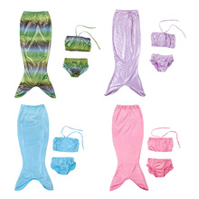Foreign trade Europe and the United States explosion models ice romance women and children hot silver mermaid swimwear three-piece