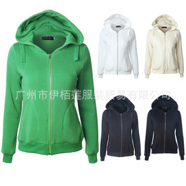 European and American sweaters Solid color hooded pocket long-sleeved zipper coat jacket female