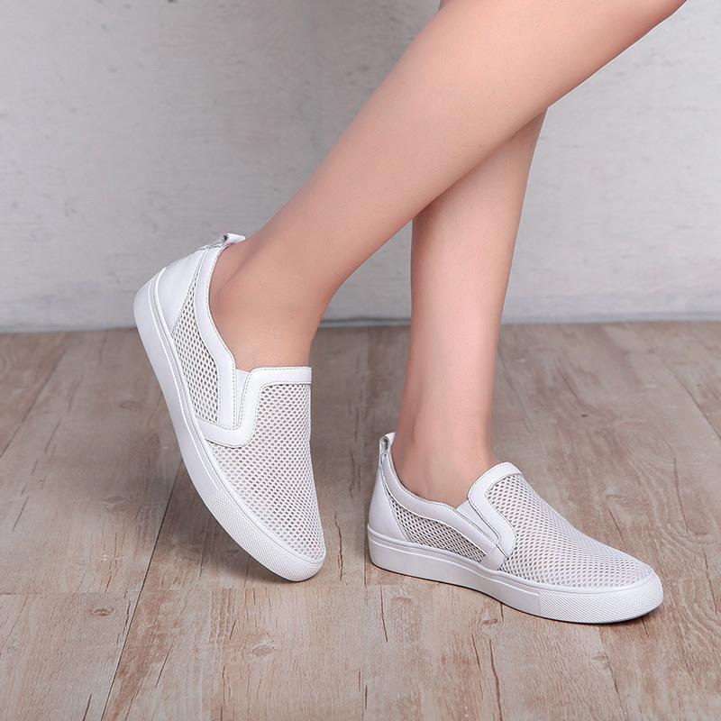 厂家直销 2017春夏新款韩版网纱凉鞋 女真皮平底洞洞鞋 一件代发