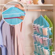 可水洗 布艺16格衣柜挂橱收纳挂袋 内裤袜子分类PE收纳袋 -4色