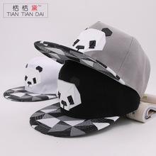 恬恬黛 韩版高档纯棉卡通嘻哈帽 男女士橡胶立体熊猫平沿棒球帽子