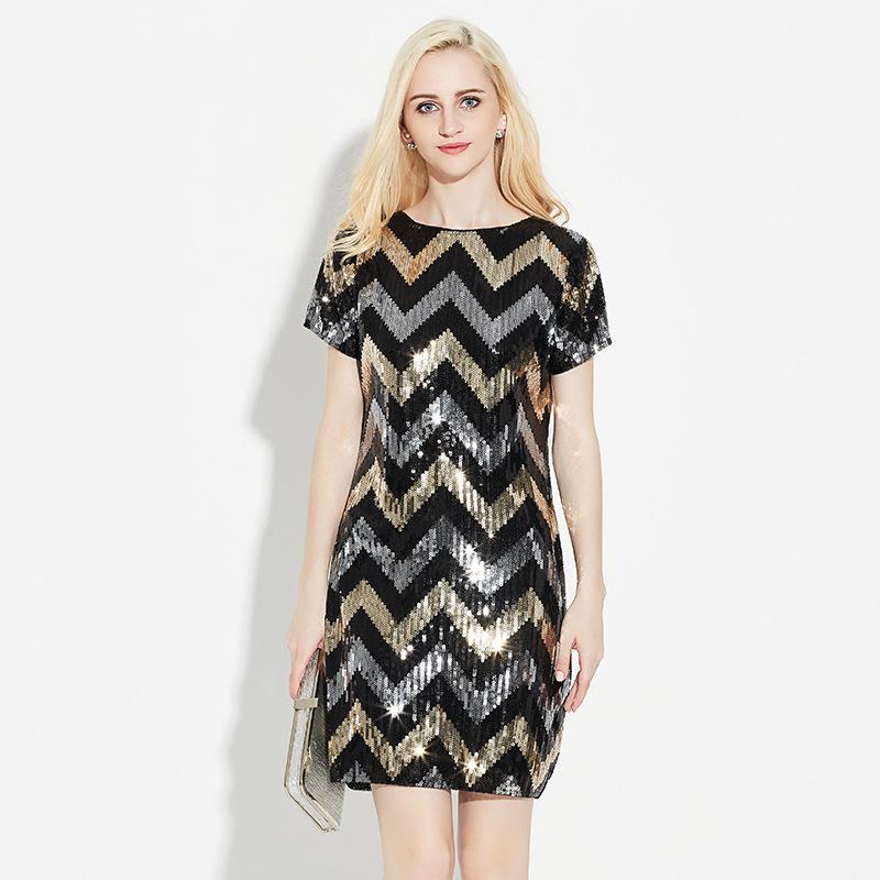 速卖通ebay欧洲站女装亮片短袖中长款连衣裙黑色时尚晚礼服