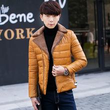 男士水洗皮棉衣韓版修身青年PU皮衣毛領加絨加厚一件代發