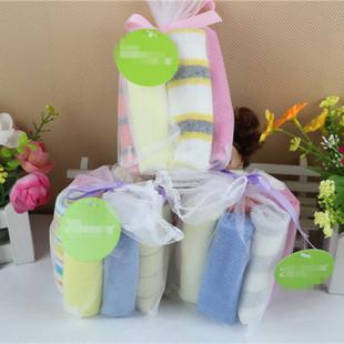 Foreign trade baby handkerchief, baby towel, saliva towel, mesh bag, 8 packs