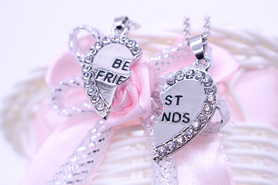 Two petal peach heart love heart-shaped couple necklace diamond best friends letter necklace NHCU194916