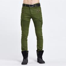 跨境专供外贸爆款biker jeans潮流褶皱弹力小脚牛仔裤男