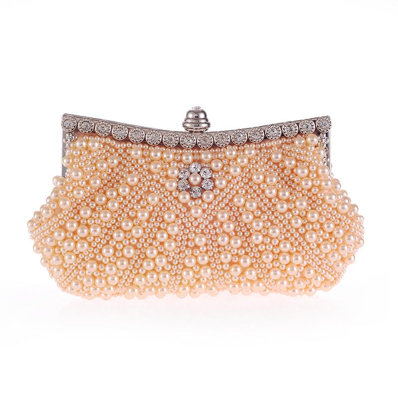 New Diagonal Pearl Belt Diamond Fashion Dinner Bag Handbag Beaded Embroidered Handbag NHYG176864