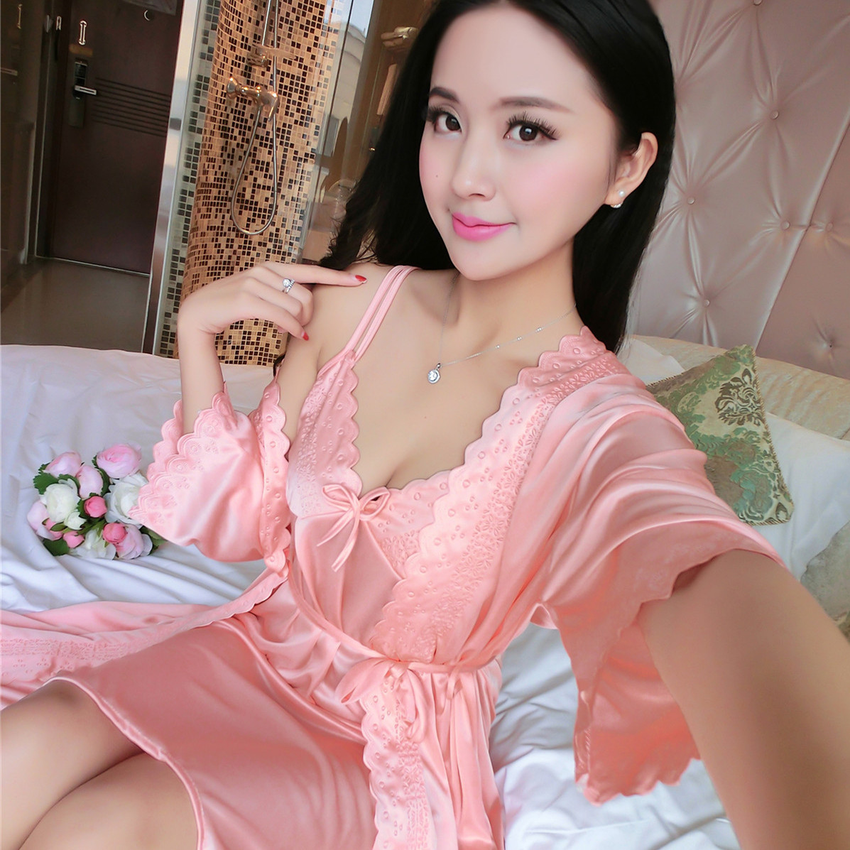 Summer ice silk pajamas two sets of extra size plus fat sleeping skirt sexy  loose lace 54429464cce5