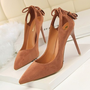 sexy high-heeled shallow mouth after pointed suede hollow-out bowknot tassel women shoes