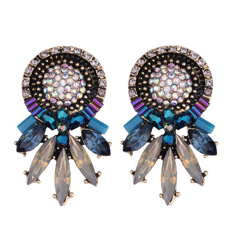 Occident and the United States alloy Rhinestone earring color NHJQ7399