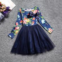 2019外貿童裙韓國童裝春款中大女童連衣裙碎花長袖公主裙一件代發