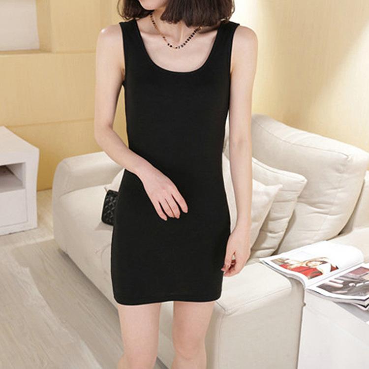 包邮一件代发韩版女装修身包臀裙百搭纯棉长款背心裙连衣裙打底裙