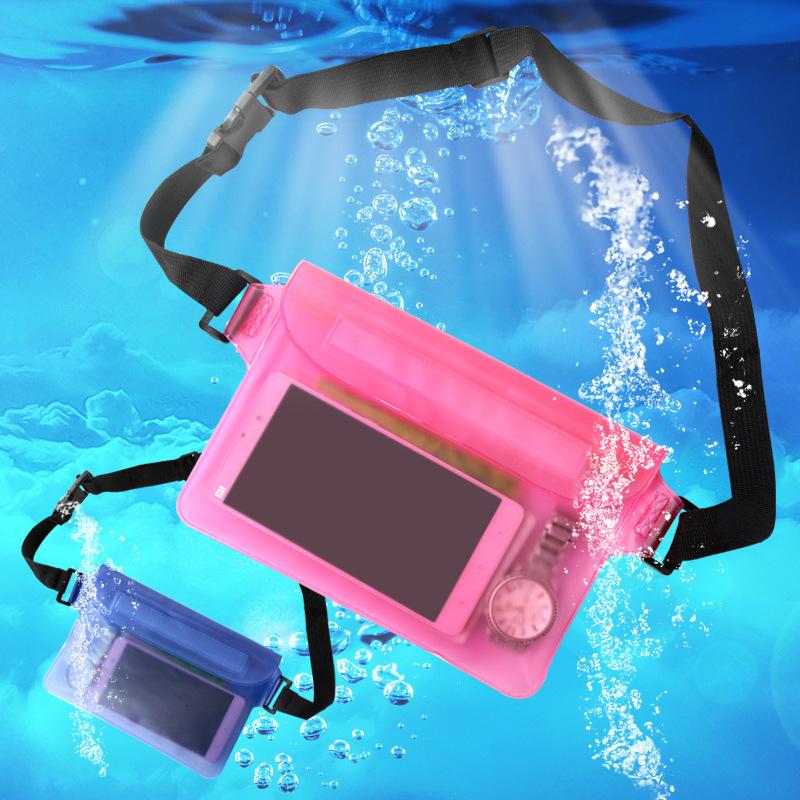 户外运动腰包漂流沙滩手机防水袋PVC三层密封可触屏手机防水腰包