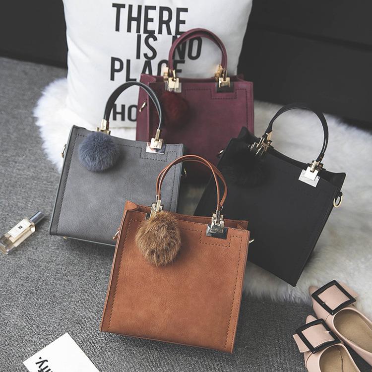Bag Women 2019 New Hair Ball Bag Frosted Fashion Handbag Shoulder Bag Simple Retro Single Shoulder Diagonal Bag