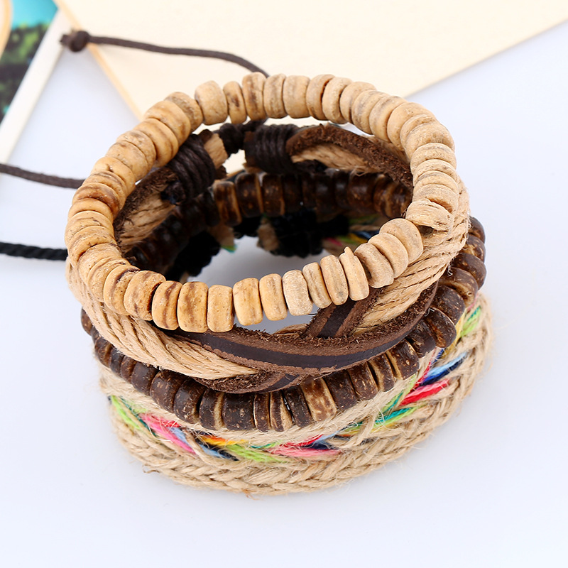 New top layer leather woven bracelet vintage hand-woven multi-layer leather bracelet jewelry NHPK184595