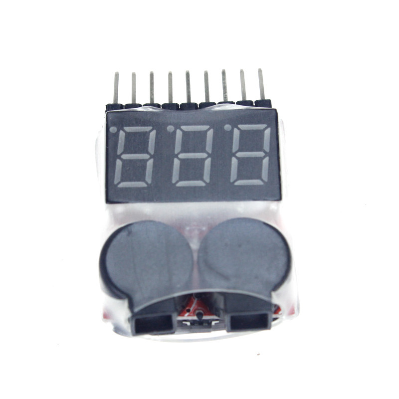 Happy-1-8S 2-in-1 Digital Voltage Monitor Low Voltage Buzzer Alarm for Helicopter Airplane Boat Battery