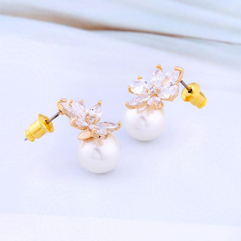 Imitated crystal&CZ Korea Flowers earring  (Alloy)  Fashion Jewelry NHAS0414-Alloy