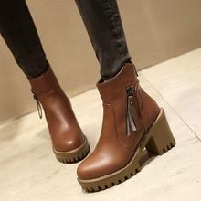 2017新款歐美馬丁靴高跟流蘇女短靴防水臺粗跟大碼女鞋40-43