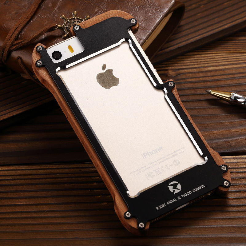 R-Just Light Slim Timber Aluminum Metal Wood Bumper Case Cover for Apple iPhone 5S/5/SE