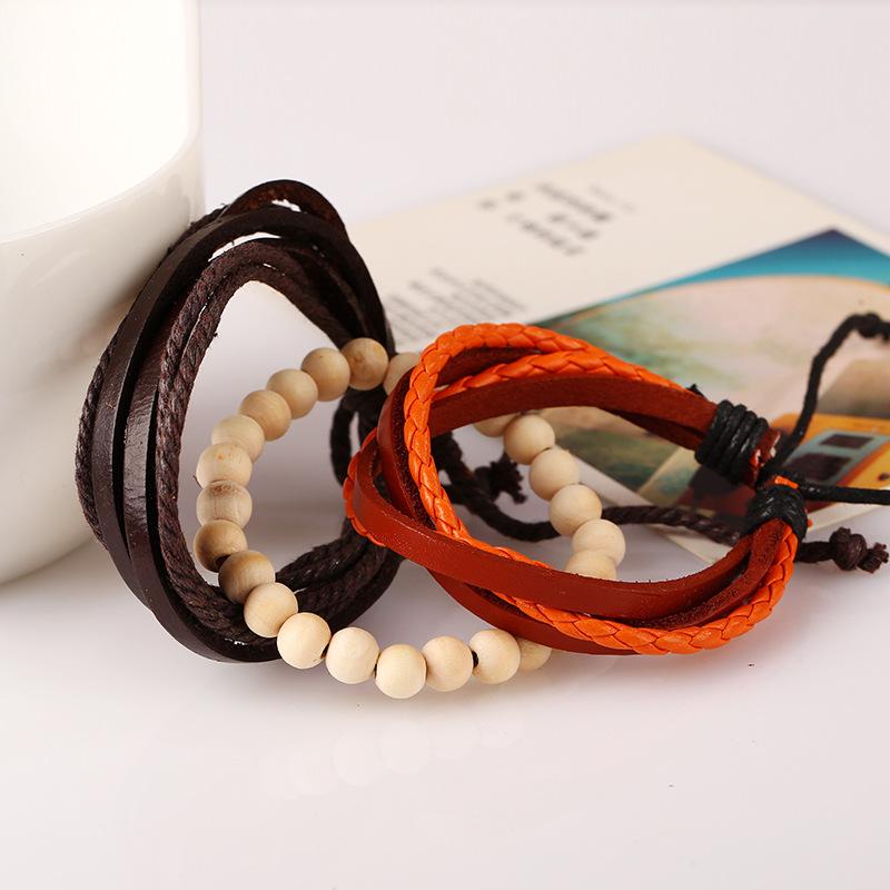 Unisex geometric Vintage woven cowhide leather Bracelets & Bangles NHPK127689