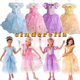 跨境专供2018夏款欧美公主裙贝儿公主卡通连衣女童裙一件代发