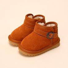宝宝雪地靴 女童真皮儿童雪地靴 男童鞋婴儿学步鞋软底冬一件代发