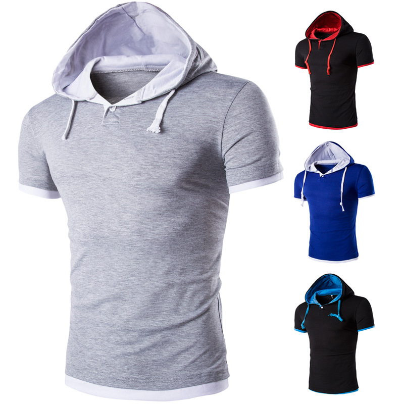 Aliexpress's new men's plus-size hooded fake two short-sleeved Foreign trade slim short-sleeved Shirt DT08
