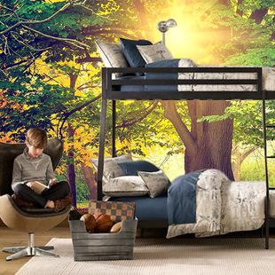 3d大型壁画电视背景 酒店墙纸 ktv壁纸施工装修温馨风景树林朝阳