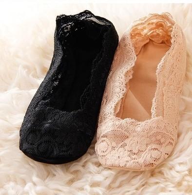 隐形船袜花边蕾丝爆款袜子浅口隐形袜蕾丝硅胶脚底防滑船袜女花边