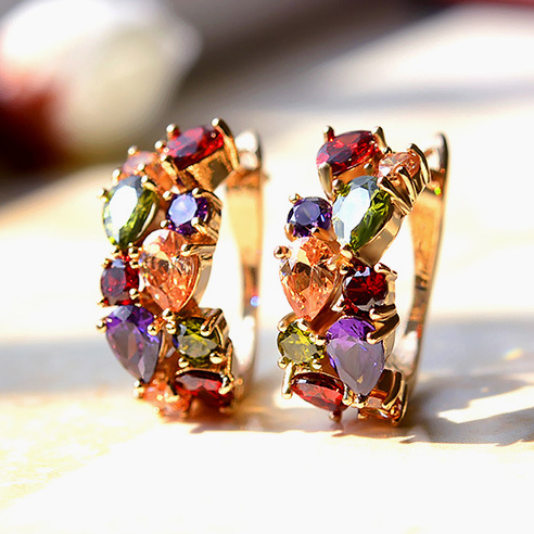 Alloy Fashion Geometric earring  (Rose alloy color stone) NHLJ3707-Rose alloy color stone