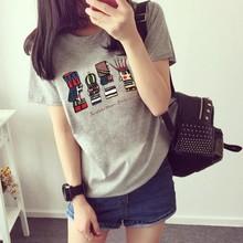 批发夏季韩版女装短袖卡通国王半袖T恤女宽松大码学生一件代发潮