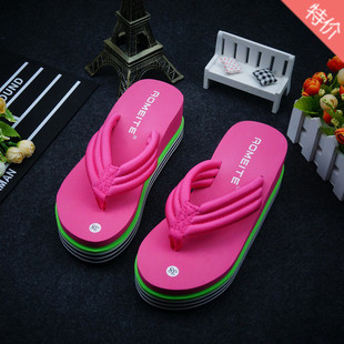 Summer Korean version of the new fashion trendy casual flip flops female stretch cloth sponge cake with non-slip slippers factory direct sales