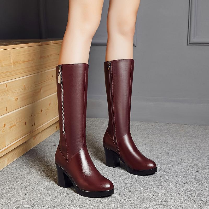 冬季新款韩版女靴子成熟骑士靴中跟侧拉链保暖高筒靴气质牛皮女靴