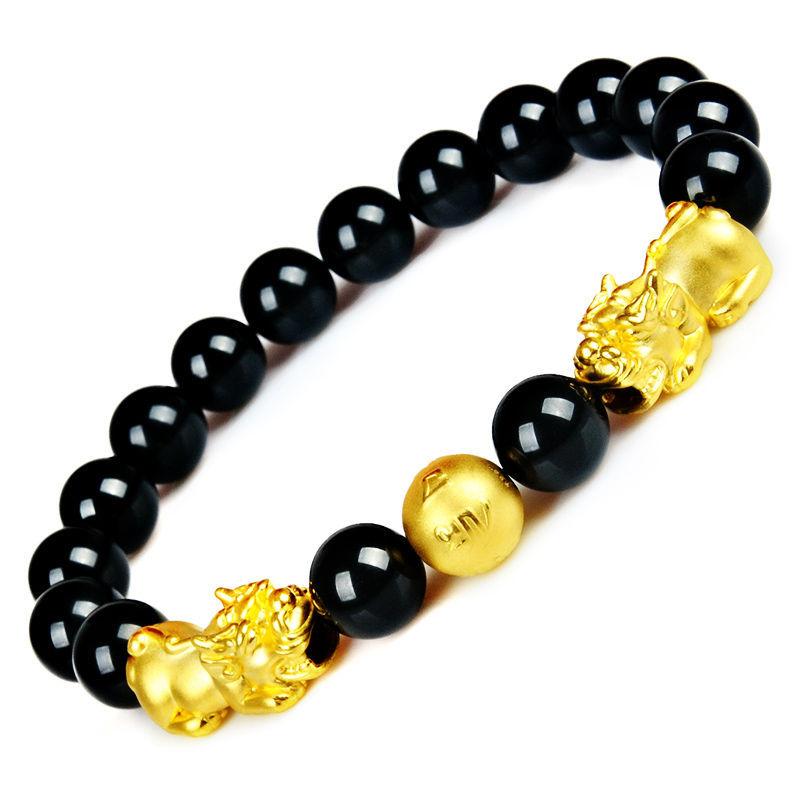 【镀金】足金3D硬金貔貅路路通手链镀黄金转运珠磨砂金珠男士手串