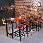 美式铁艺实木酒吧椅吧台椅奶茶店咖啡厅休闲复古高脚吧椅酒吧桌椅