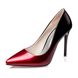 Korea edition pointed light mouth with women's shoes fashion show thin OL vocational gradient patent leather high heels