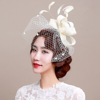 European style linen handmade headdress retro veil feather Party Wedding lady hat