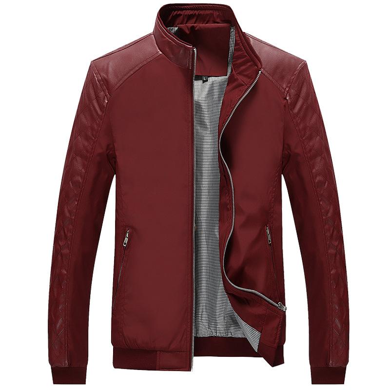春季新款青年夹克男士薄款韩版修身PU皮拼接休闲潮流春装一件代发