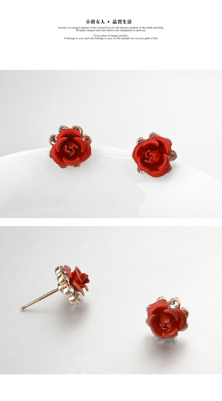 Alloy Korea Flowers earring(red) NHLJ3776-red