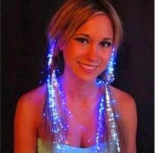 七彩发光辫子 闪光光纤辫子 闪光发丝 LED丝辫 酒吧 舞会节庆用品