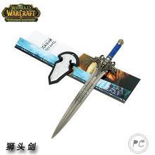 魔獸世界霜之哀傷羊頭劍模型 萊恩劍兵器 WOW獅頭劍30cm 不開刃